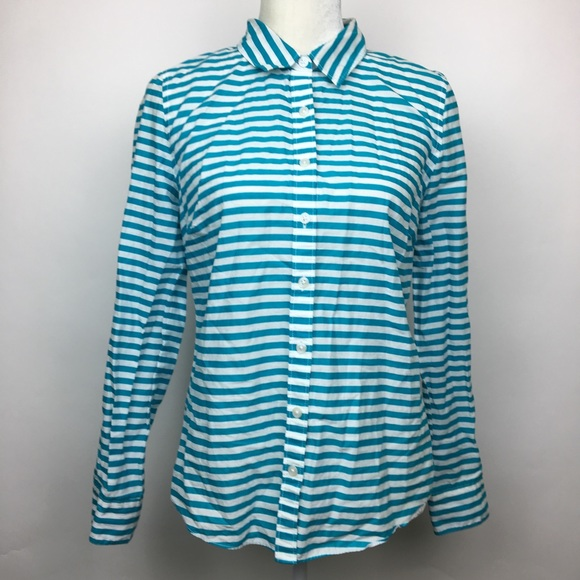 ad2b76d4121 crown & ivy Tops | Crown Ivy Blue White Striped Button Top Shirt ...